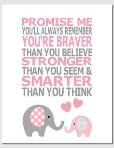 Baby Girl Nursery Decor, Kids Wall Art, Children's Room Art, Elephant, Pink, Gray, Promise Me You'll Always Remember, 8x10 Print