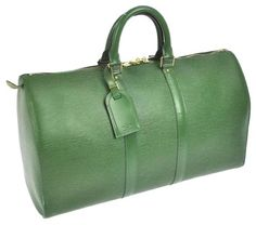 e1535014f3df Louis Vuitton Epi Leather Keepall 45 W  Lv Luggage Tag + Lock And Key Green  Travel Bag on Sale