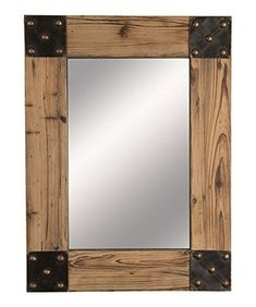 This Rustic Mirror by Wilco is perfect! Pallet Mirror, Wood Mirror, Diy Mirror, Wood Wall, Rustic Mirrors, Rustic Frames, Rustic Wood, Barn Wood Frames, Industrial Furniture