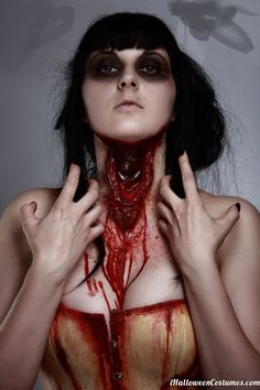 """Today we are here with a collection scary makeup ideas which is really easy to do but looks very scary. Scary Makeup Ideas For Halloween"""". Horror Makeup, Zombie Makeup, Scary Makeup, Sfx Makeup, Costume Makeup, Makeup Art, Halloween Make Up, Halloween Costumes, Halloween Face Makeup"""