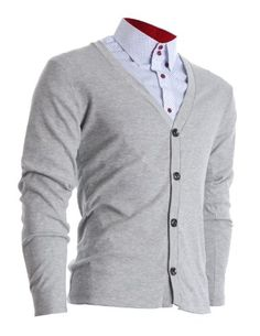 FLATSEVEN Mens Slim Fit Stylish Button up Cardigan (C100) Grey, XL FLATSEVEN #Stylish #menswear #mens fashion #mens clothing #cardigan #mens slim fit #denim