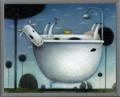 Heaven is a Hot Bath Framed Canvas Print by Rob Scotton - AllPosters.ca