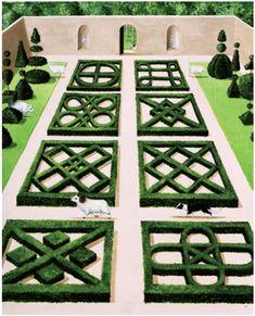 The Knot Garden by Rebecca Campbell- great depiction of various possible patterns. Boxwood Garden, Garden Hedges, Topiary Garden, Herb Garden, Garden Art, Garden Landscaping, Formal Garden Design, Cottage Garden Design, Parks