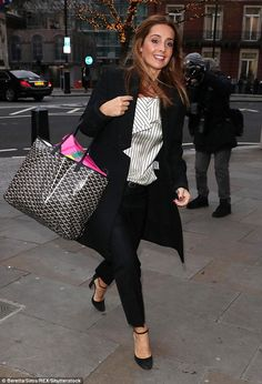 Smiling: Louise Redknapp looked in good spirits as she made her way to the BBC studios in central London on Thursday