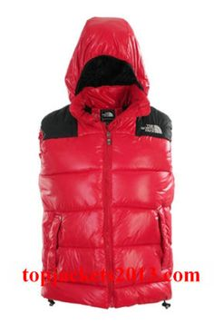 The North Face Outlet Mens Summit Series Hoodie Down Vest Red Black