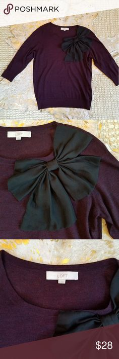 🍀CLOSET CLOSING🍀LOFT Bow Sweater CLOSET CLOSING 7.30.17!!   So cute, looks great with jeans or black pants. Color is a deep red, it's a mixture of black and red threads, very pretty! It's a thin weight, perfect for fall. So soft! EUC: There is one imperfection in the weave, see last pic. It came this way from LOFT. LOFT Sweaters