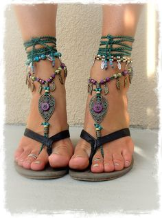 Only for Nicole. Woodland FAIRY BAREFOOT sandals Tribal