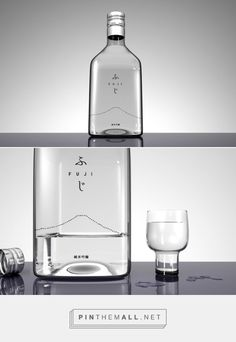 Fuji Sake bottle designed by Studiobium (Japan) - http://www.packagingoftheworld.com/2016/01/fuji-sake.html