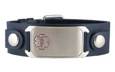 Sexy and stylish leather medical ID bracelet that can be personally engraved with your important #emergency information. Perfect for people with #diabetes, heart conditions or severe #allergies. Just $29.95