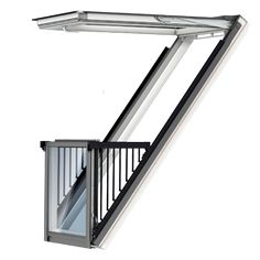 VELUX Cabrio from a standard window to a balcony in a few seconds. VELUX roof terrace extra daylight and great floor to ceiling view. Attic Bedroom Designs, Attic Design, Attic Rooms, Balcony Window, Roof Window, Dormer Windows, Unique House Design, Attic Conversion, Loft Room