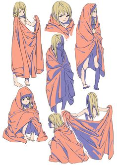 How to draw the drapes of a blanked - Girl wrapped up in a blanket from different perspectives - drawing reference Character Concept, Character Art, Concept Art, Character Reference, Drawing Poses, Manga Drawing, Illustrations, Illustration Art, Wie Zeichnet Man Manga