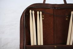 Leather drumstick bag with zip vintage style by PinegroveLeather