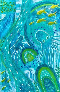 Acrylic painting on canvas. Vibrant octopus's under water garden. Anna Just Art Garden Painting, Silk Painting, Acrylic Painting Canvas, Canvas Artwork, Mixed Media Artwork, Mixed Media Artists, Mixed Media Canvas, Water Garden, Art Forms