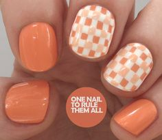 One Nail to Rule Them All: Orange Checkers/Gingham. The base for these is OPI - Is Mai Tai Crooked?* from the recent Hawaii collection, then I used Barry M - Cotton* for the stripes, and then I filled in the centre of the stripes with a mixture of Is Mai Tai Crooked? and Cotton, finished off with a coat of Seche Vite.