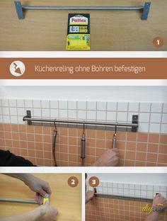 Eine Küchenreling lässt sich auch ohne Bohren befestigen. Passende Klebestreifen vorausgesetzt. Wir demonstrieren an einer Küchenstange das Kleben ohne Bohren.