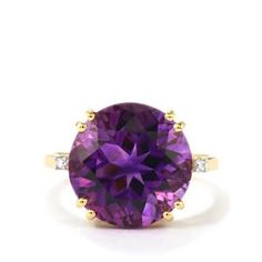 Moroccan Amethyst Ring with Diamond in 14k Gold 7.81cts