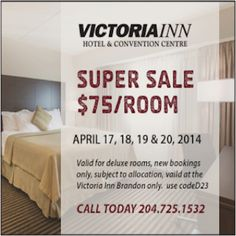 There are only two days left to book your easter STAYcation! We are offering a room rate of $75 valid from April 17 - 20, 2014. To book, please give us a call at 1-204-725-1532 and mention the Facebook offer!