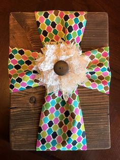 Fabric Cross on Wood by WhiskeyRoseCrafts on Etsy