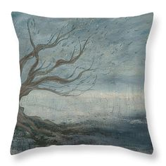 Mistree Throw Pillow by Emily Magone Tree pillow blue grey branches wind leaves autumn fog mist roots abstract
