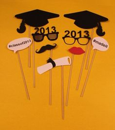 GRADUATION Photo Booth Props  9 Piece Set by CreatedToPlay on Etsy, $18.00