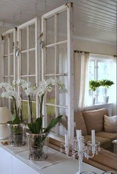 Old windows make a great room divider for a shabby chic decor! Old windows make a great room divider for a shabby chic decor! Chic Decor, Decor, Home Diy, Airy Room, Home Decor, Shabby Chic Furniture, Old Window Frames, Shabby Chic Homes, Chic Furniture