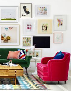 I love this art wall and the colorful furniture!