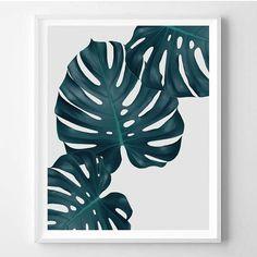 Monstera print, Tropical, Plant, Minimal, Tropical leaf, Modern art, Wall decor…