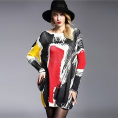 Women's Dress 2016 Brand New Autumn Winter Wool Blend Knitwear Oversized Long Sleeves Slash Neck Pullovers Print Jumpers 6126 ** Read more reviews of the product by visiting the link on the image.
