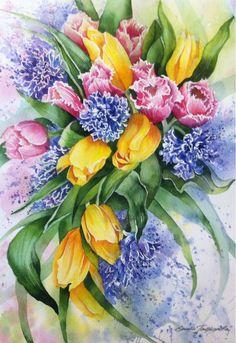 Купить Весенний букет акварелью - цветы, цветы акварелью, цветы акварель, букет, рисунок