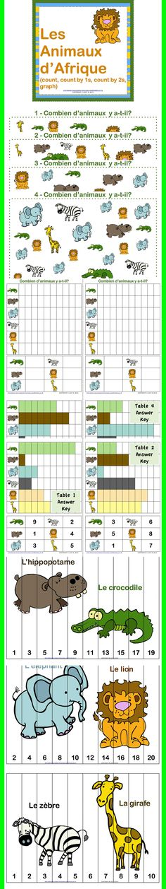 $ The African animals will help you get your students (or your kids) counting and graphing while having a lot of fun.    It includes:  COUNT & GRAPH ACTIVITY  PUZZLES TO COUNT BY 1s, 2s (even numbers), 2s (odd numbers)