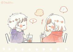Cute Chibi Couple, Cute Couple Art, Anime Chibi, Kawaii Anime, Anime Art, Anime Couples Drawings, Cute Anime Couples, Easy Anime Eyes, Chibi Girl