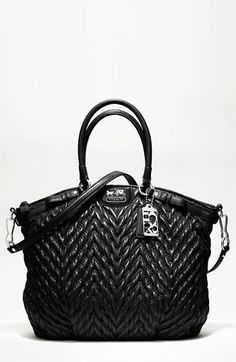 Save on the Coach Sophia Quilted Chevron Madison Nylon Black Satchel! This satchel is a top 10 member favorite on Tradesy. Coach Handbags, Coach Purses, Purses And Handbags, Coach Bags, Hermes Handbags, Designer Handbags, Fendi, Gucci, Purple Purse
