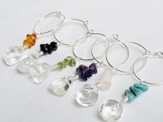Items similar to Beaded wine charms - semi precious charms - wine glass charm - chip wine charms - rock quartz charm - custom wine charms on Etsy Red Earrings, Turquoise Earrings, Rose Quartz, Quartz Crystal, Wine Glass Charms, Keep Jewelry, Sterling Silver Earrings, Amethyst, Charmed