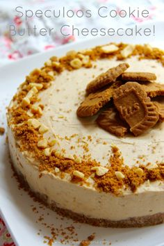 Speculoos Cookie Butter Cheesecake - Speculoos Biscoff Cookie Butter made into a No-Bake Creamy Cheesecake, sprinkled with Honeycomb Pieces & more biscuits – Heaven.