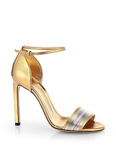 Gucci Cara Metallic Leather Sandals, $695 at Saks Fifth Avenue