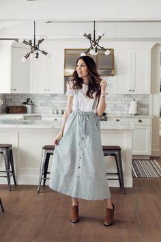 Jada Overall Dress Jada Jumpsuit Dress Modest Dresses, Modest Outfits, Skirt Outfits, Modest Fashion, Women's Fashion Dresses, Cute Dresses, Trendy Outfits, Dress Skirt, Classy Fashion