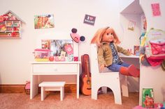 American Girl Dolls : Our American Girl Doll Playroom Ag Dolls, Girl Dolls, American Girl Bedrooms, Doll Party, Doll Crafts, 18 Inch Doll, Craft Tutorials, Girls Bedroom, Playroom