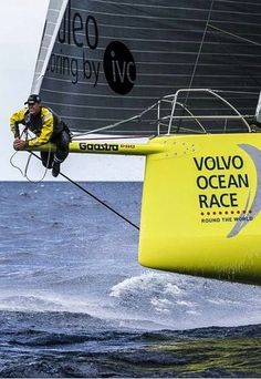 hanging out on the bowsprit of Team Brunel during the Volvo Ocean Race