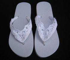 c62405aeef36d1 Spitze BESTICKTE Hochzeit Braut Flip-Flops in Ivory oder weiß Kleider