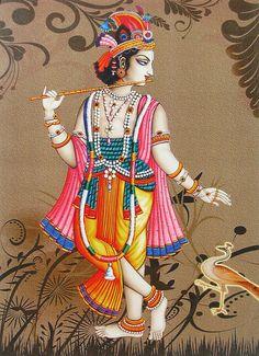 Lord Krishna - Reprints of Miniature Paintings (Reprint on Paper - Unframed) Jai Shree Krishna, Radha Krishna Love, Radhe Krishna, Lord Krishna, Krishna Lila, Krishna Painting, Madhubani Painting, Arte Tribal, Radha Krishna Wallpaper