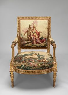 Furniture Depicting the Four Continents: Armchair Beauvais Maker: Workshop of de Menou (French, active 1780–93)  Artist: After a composition by Jean Jacques François Le Barbier (French, Rouen 1738–1826 Paris)  Patron: Commissioned for Louis XVI, King of France (French, Versailles 1754–1793 Paris)  Date: designed ca. 1786, woven 1790–91; on second half 19th century frames  Culture: French, Beauvais  Medium: Carved and gilded wood; wool, silk
