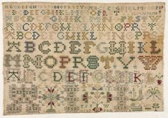 """English Sampler ~ 1778 ~ England ~ 18th century ~ embroidery: silk on linen tabby ground ~ rows of alphabet and numerals; below: """"T S I W/ 1778"""" ~ Cleveland Museum  of Art ~ Note: this does not appear to be an English Sampler but more like a classic Dutch or German Sampler"""