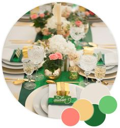 emerald green, gold and strips wedding | emerald green gold and pink color palette