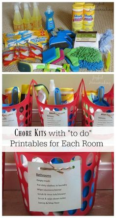 Love this idea for chores for kids. Would modify to include only eco friendly safe cleaning supplies. Adhd kids can do things much easier with a list. Deep Cleaning Tips, House Cleaning Tips, Diy Cleaning Products, Cleaning Solutions, Cleaning Hacks, Cleaning Checklist, Organizing Cleaning Supplies, Spring Cleaning Schedules, Cleaning Caddy