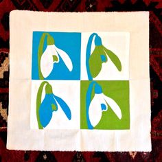 """quiltify: <p>The finished block Snowdrop Festival Quilt Project. Looking forward to seeing the finished quilt in February at the <a href=""""http://www.shaftesburysnowdrops.org"""">Shaftesbury Snowdrop Festival."""