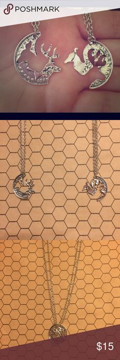 "His and hers or best friends buck and doe necklace Unique his and hers doe and buck interlocking charm necklaces. Perfect for the outdoorsy couple, animal lovers or just plain lovers or friends! On matching silver tone 20"" chains. Boutique Jewelry Necklaces"