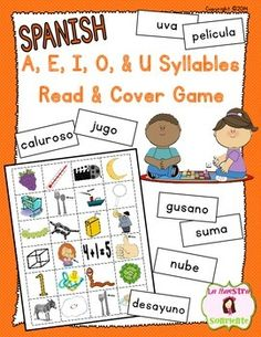 Spanish Read and Cover Game with A, E, I, O, and U Syllables: Students read words with A, E, I, O, and U syllables (ma, me, mi, mo, mu, pa, pe, pi, po, pu, etc.) and put a marker on the picture that represents the word. $
