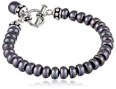 "Honora ""Pallini"" Black Freshwater Cultured Pearl Drop Charm Toggle Bracelet, 7.75"""