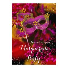 Pink Gold Black Floral Masquerade Birthday Party Card