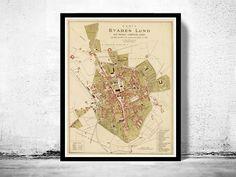 Old Map of Lund, Sweden 1875 Antique Vintage map - product image